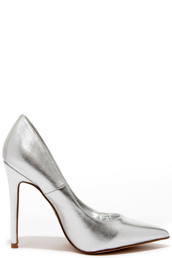 Pretty Silver Pumps - Pointed Pumps - Silver Heels - $34.00