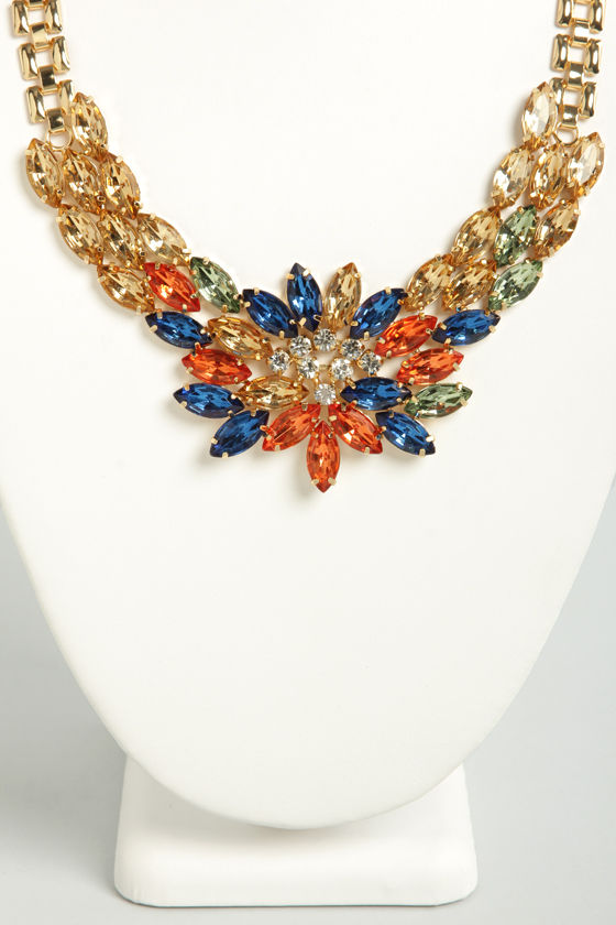 Luminous Lotus Gold Rhinestone Necklace at Lulus.com!