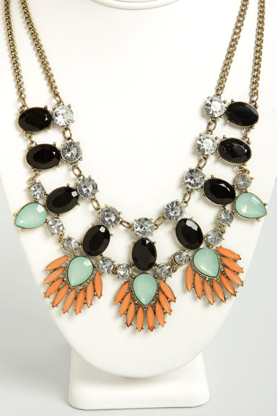Best of Gem Peach and Mint Rhinestone Necklace at Lulus.com!