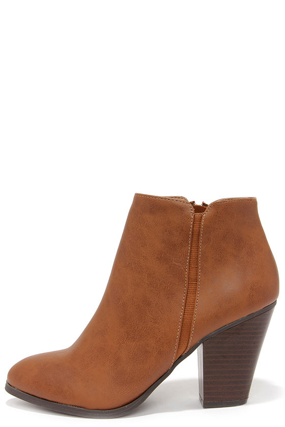 Cute Tan Boots - High Heel Boots - Ankle Boots - Booties - $30.00