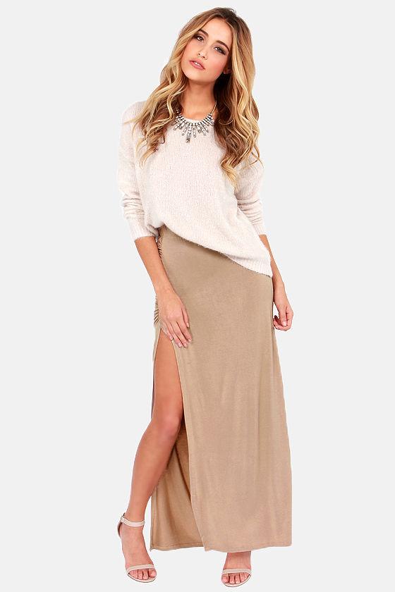 Sexy Beige Skirt - Maxi Skirt - Slit Skirt - $37.00