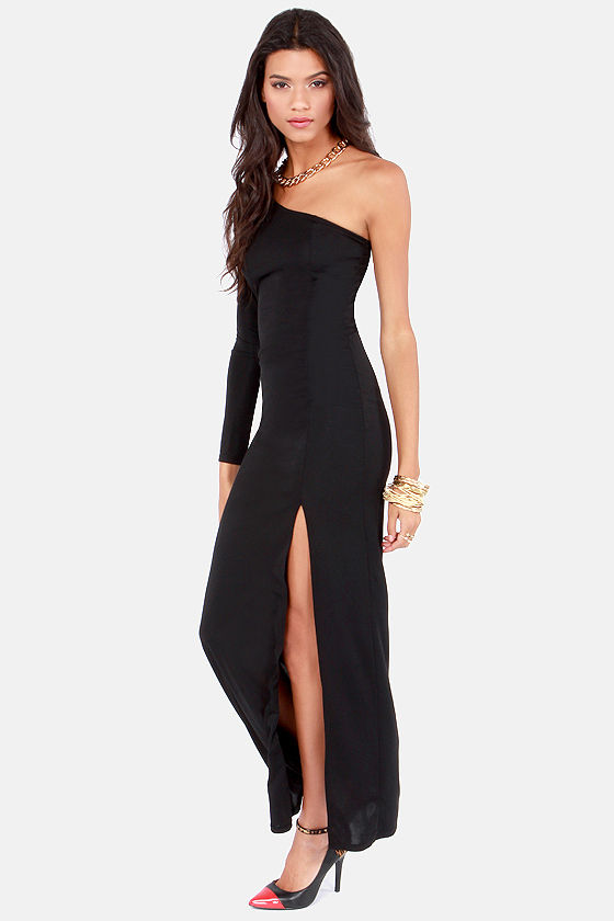 Seductress Black One Shoulder Maxi Dress at Lulus.com!