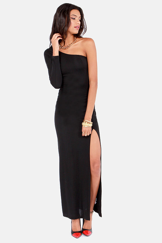2c2f5df5358 Sexy Black Dress - One Shoulder Dress - Maxi Dress -  46.00