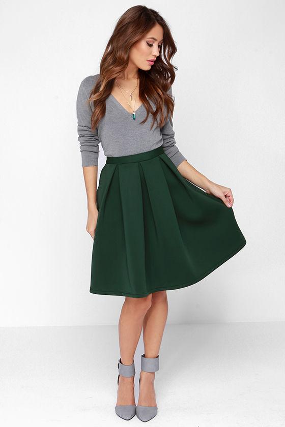 Chic Pleated Skirt - Flared Skirt - Green Skirt - $59.00