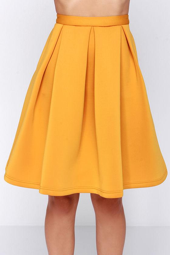 chic pleated skirt flared skirt yellow skirt 59 00