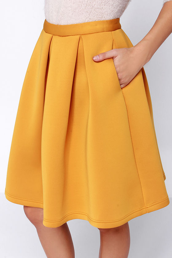 Chic Pleated Skirt - Flared Skirt - Yellow Skirt - $59.00