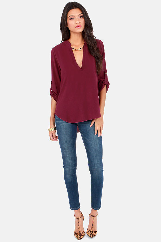 Busy as a V Burgundy Top at Lulus.com!