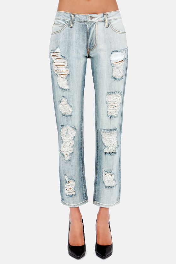 Boyz to Femme Light Wash Distressed Boyfriend Jeans at Lulus.com!