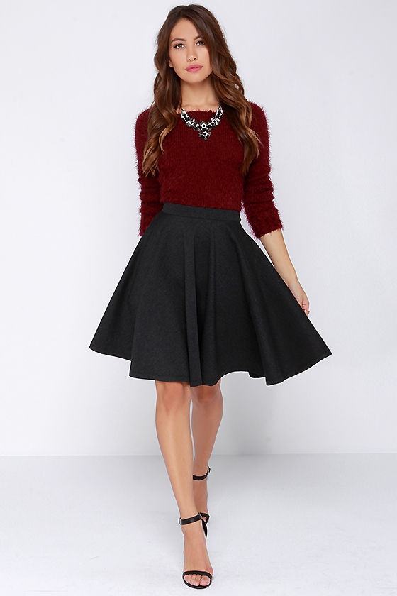 Pretty Charcoal Grey Skirt - Midi Skirt - Full Skirt - $58.00