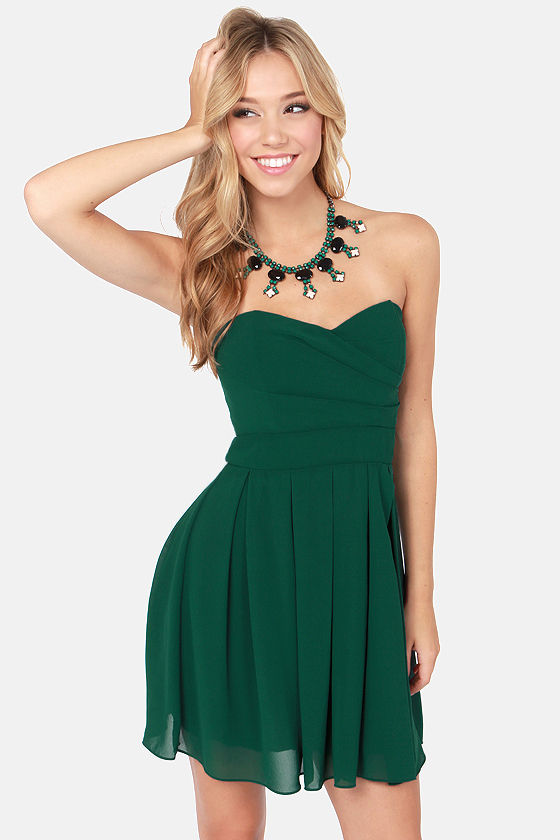 TFNC Elida Dress - Strapless Dress - Green Dress - $75.00
