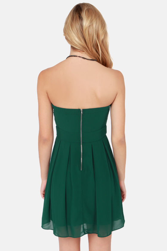 TFNC Elida Strapless Hunter Green Dress at Lulus.com!