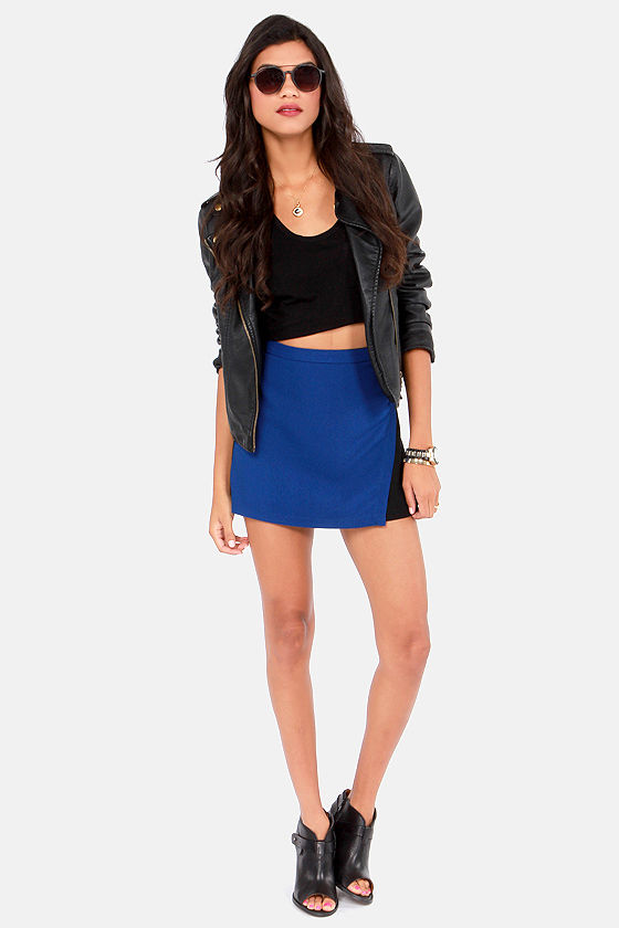 Color Block and Awe Black and Blue Skirt at Lulus.com!