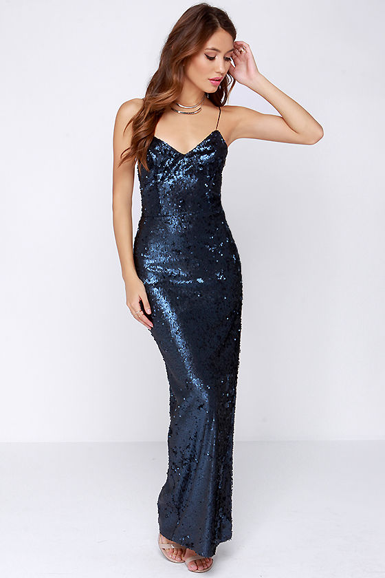 Lovely Navy Blue Dress - Sequin Dress - Navy Blue Maxi Dress - $165.00