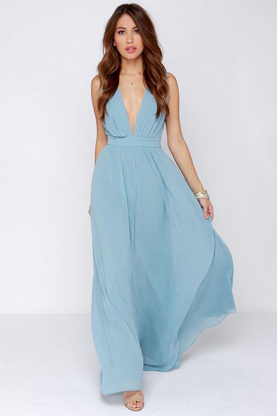 Lovely Maxi Dress - Light Blue Dress - Bridesmaid Dress ...