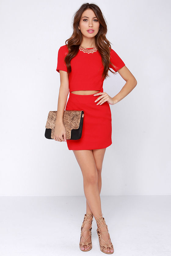 Sexy Red Dress - Red Bodycon Dress - Cutout Dress - $97.00