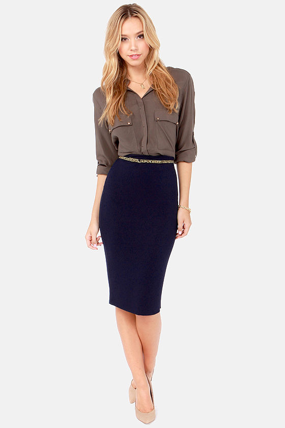 Cute Navy Blue Skirt - Pencil Skirt - Midi Skirt - $28.00