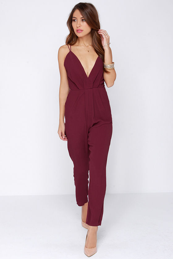 Lovers Friends My Way Jumpsuit - Burgundy Jumpsuit - $171.00