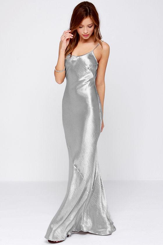 Sexy Silver Dress Metallic Dress Silver Maxi Dress