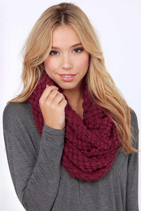 Neither Sphere Nor There Burgundy Infinity Scarf at Lulus.com!