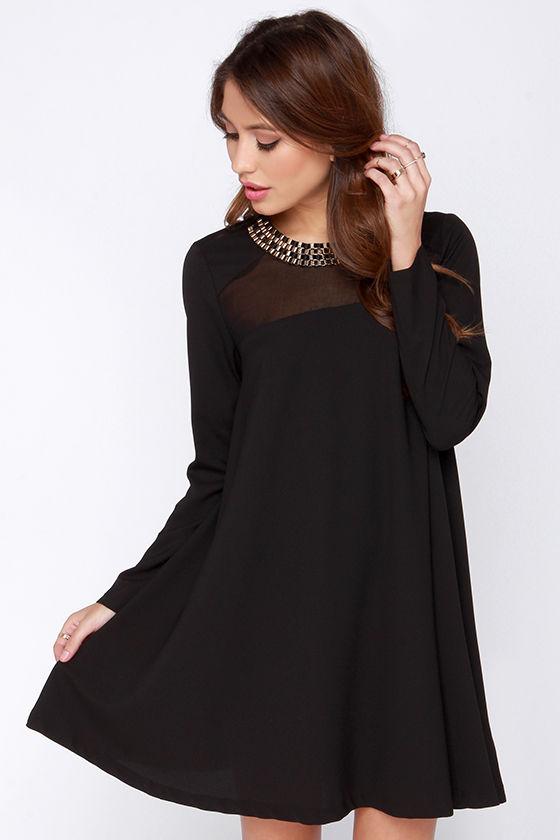 Chic Black Dress - Shift Dress - Long Sleeve Dress - $43.00