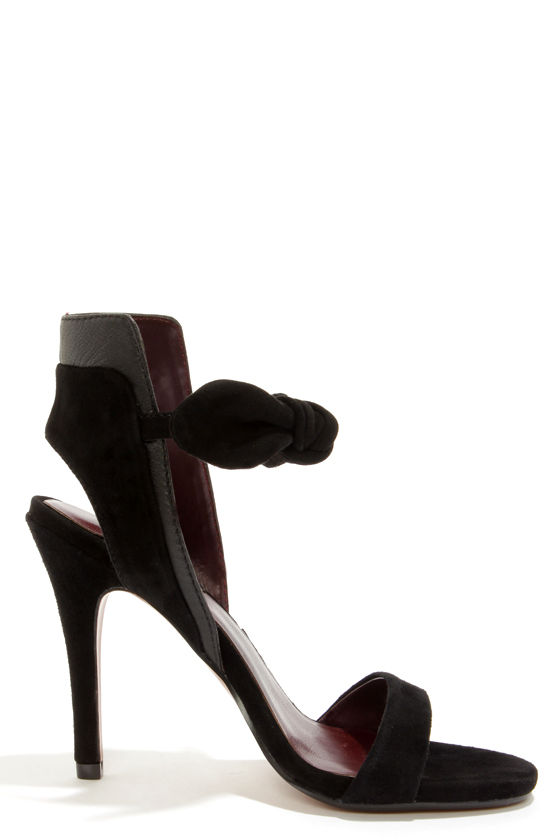 Report Signature Zany Black Suede High Back Peep Toe Heels at Lulus.com!