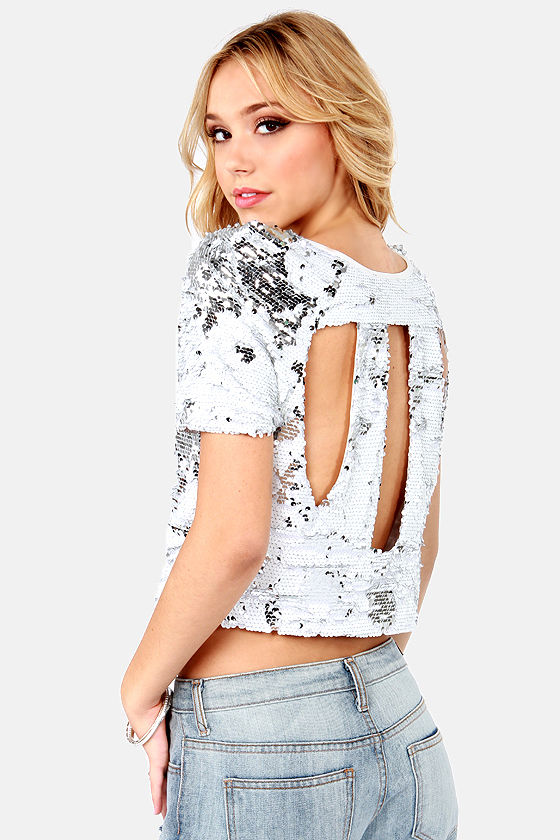Haute To Trot White Sequin Top at Lulus.com!