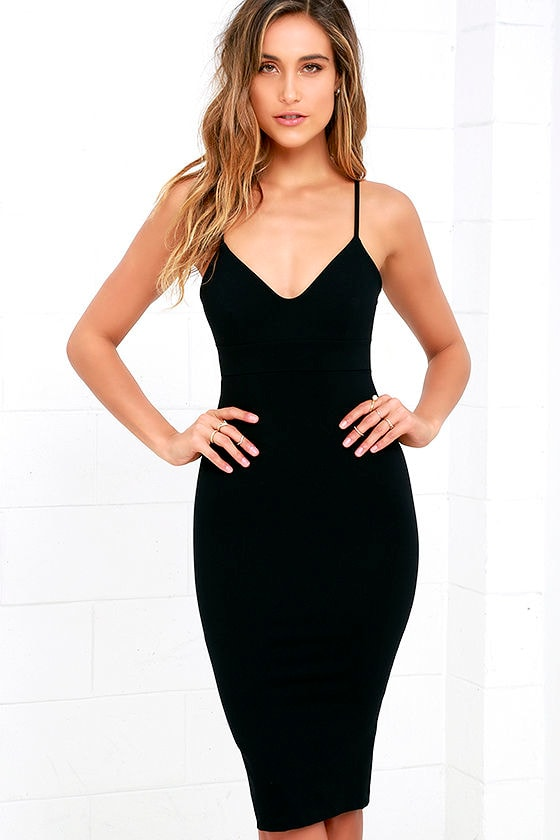 LULUS Exclusive Don't Tell 'Em Black Bodycon Midi Dress 1