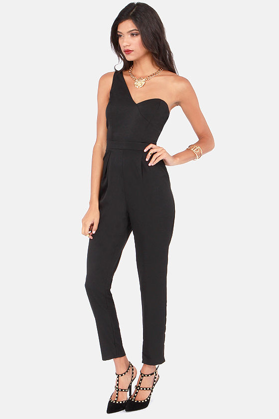 One Way Or Another One Shoulder Black Jumpsuit at Lulus.com!