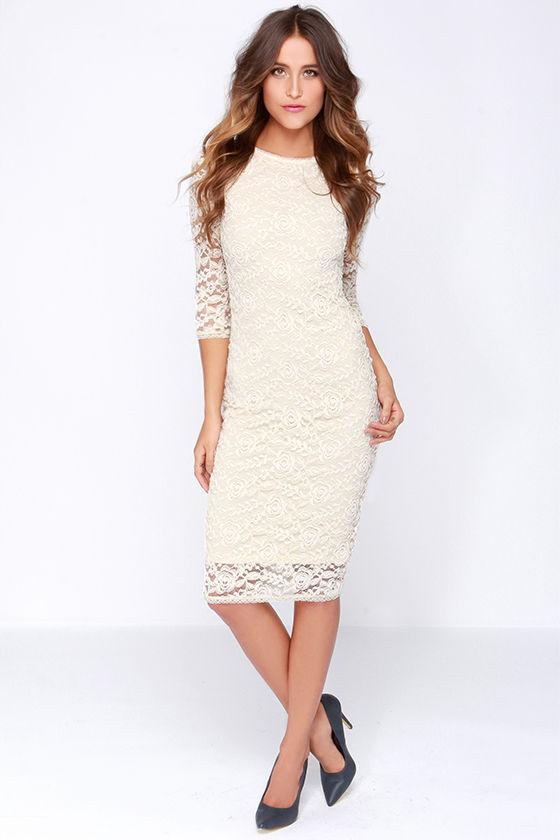 0c77ebcba8df3 Black Swan Tinsel - Cream Dress - Lace Dress -  87.00