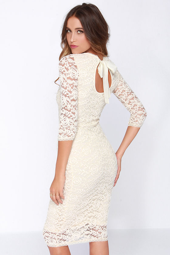 Black Swan Tinsel - Cream Dress - Lace Dress - $87.00