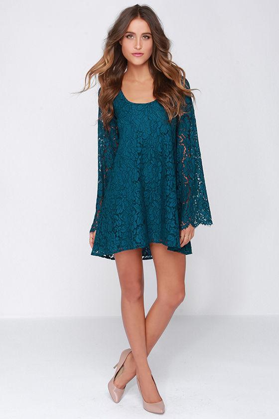 Pretty Teal Blue Dress - Bell Sleeve Dress - Shift Dress - Long ...