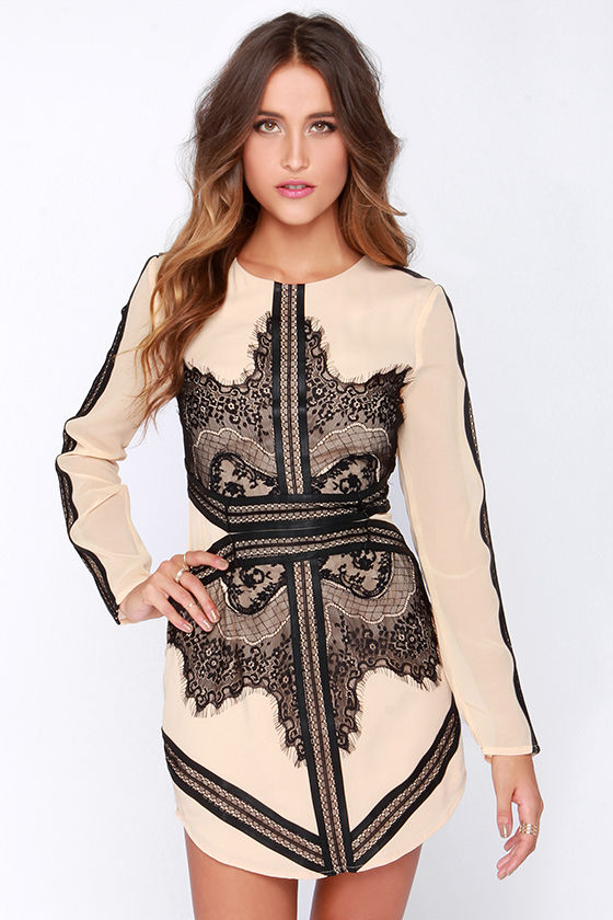 Beige Dress - Lace Dress - Long Sleeve Dress - $66.00