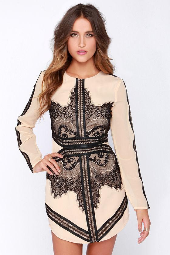 Beige Dress - Lace Dress - Long Sleeve Dress - $66.00