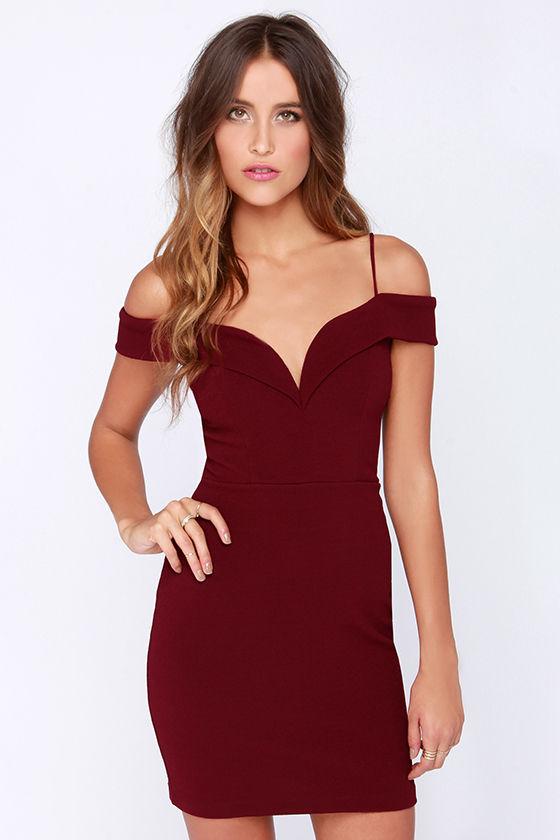 a4a26acdb500 Cute Burgundy Dress - Sexy Dress - Off-the-Shoulder Dress -  44.00