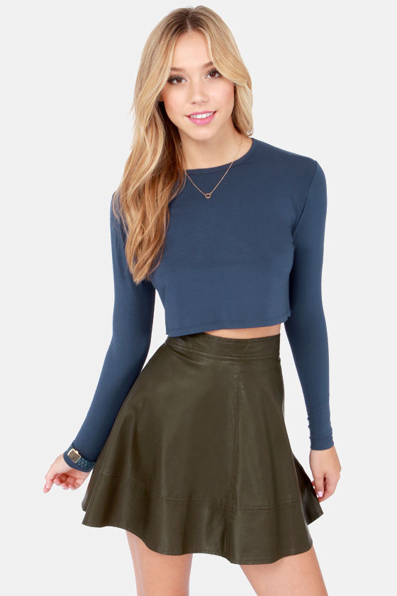 Crop, Collaborate, and Listen Navy Blue Long Sleeve Crop Top at Lulus.com!