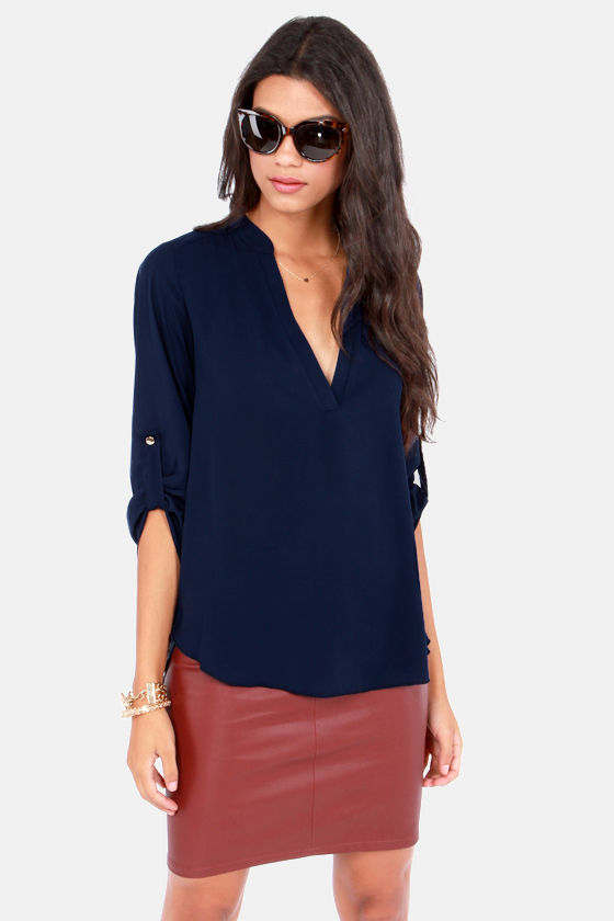 Busy as a V Navy Blue Top at Lulus.com!
