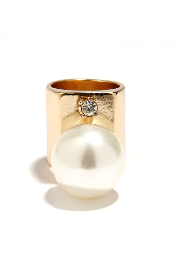 Gold Ring Pearl Ring Statement Ring 13 00