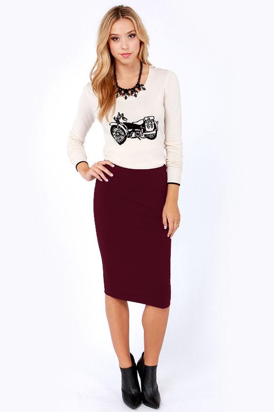 Cute Burgundy Skirt - Pencil Skirt - Midi Skirt - $28.00