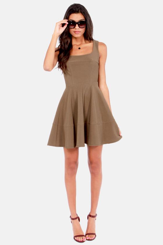 Pretty Brown Dress - Skater Dress -  42.00 378d4fd4a