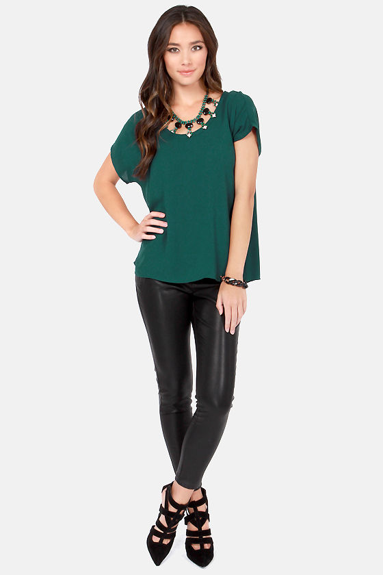 Tee You Later Hunter Green Top at Lulus.com!