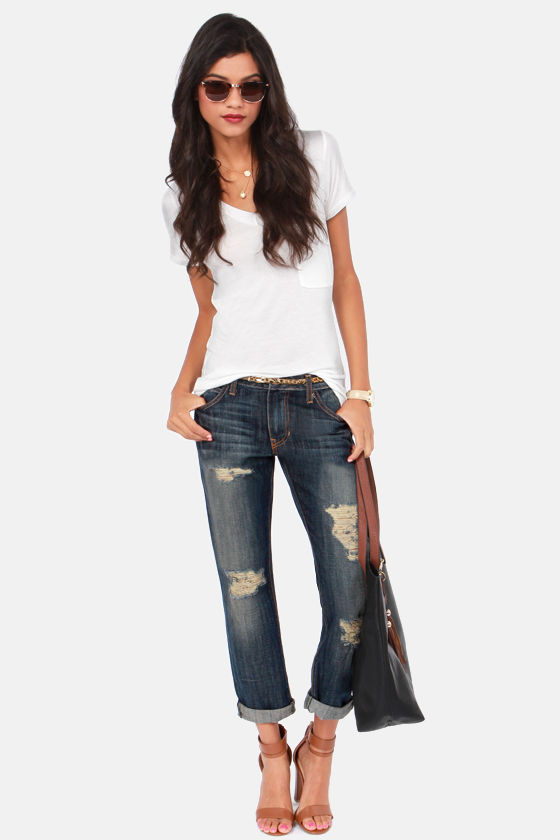 Boyz to Femme Dark Wash Distressed Boyfriend Jeans at Lulus.com!