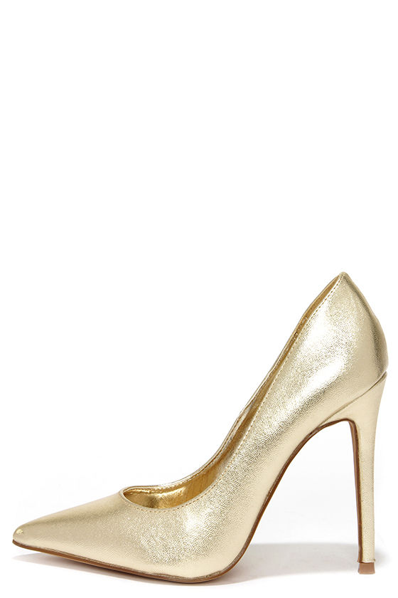 Pretty Gold Pumps - Pointed Pumps - Gold Heels - $34.00