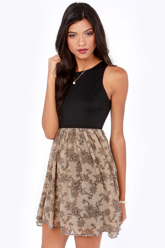 BB Dakota by Jack Becky Black and Taupe Print Dress at Lulus.com!