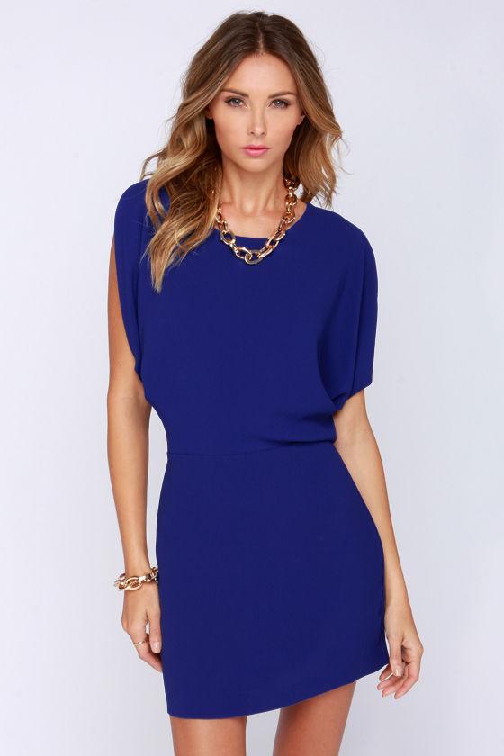 fd2162ec24b Blue Dress - Casual Dress - Cold Shoulder Dress -  63.00