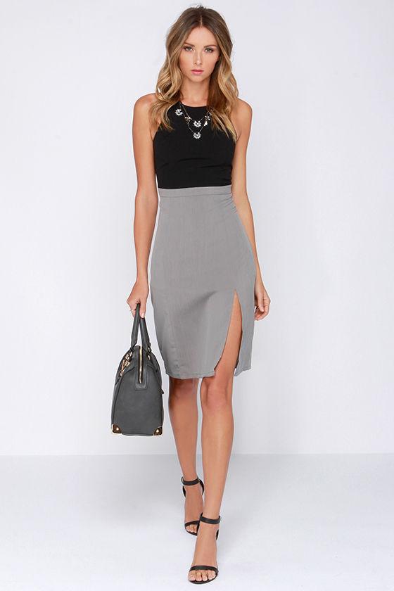 Pretty Grey Dress - Midi Dress - Color Block Dress - $70.00