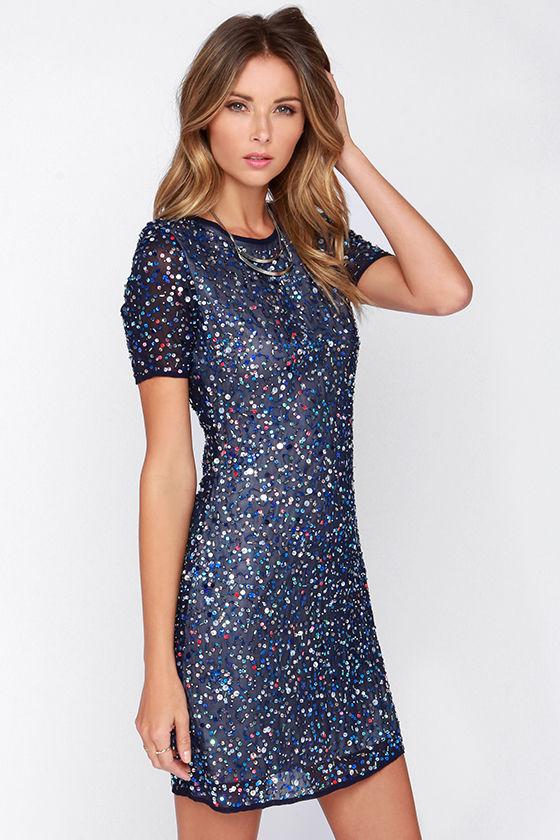 Pretty Blue Dress - Sequin Dress - Beaded Dress - Sheath Dress ...