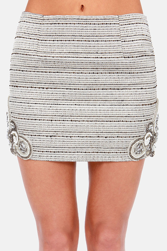 Beauty and the Bead Metallic Beaded Mini Skirt at Lulus.com!