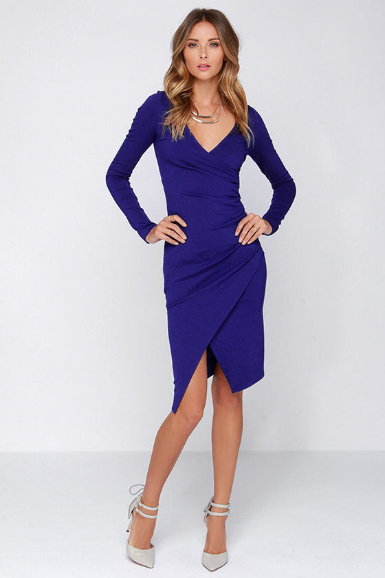 Chic Royal Blue Dress - Long Sleeve Dress - Bodycon Dress - Midi ...