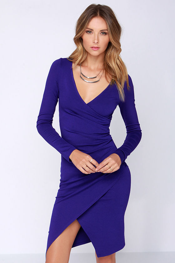 b8a834c52e2d Chic Royal Blue Dress - Long Sleeve Dress - Bodycon Dress - Midi Dress -   48.00