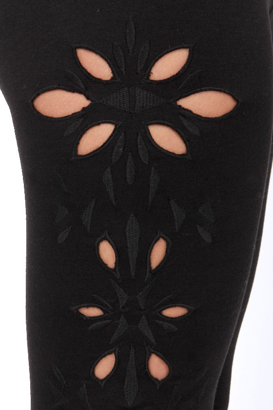 On the Cutouts Embroidered Black Leggings at Lulus.com!